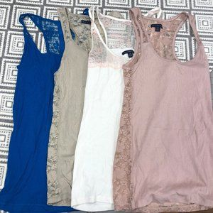 American Eagle | Lot of 4 Lace Ribbed Tank Tops